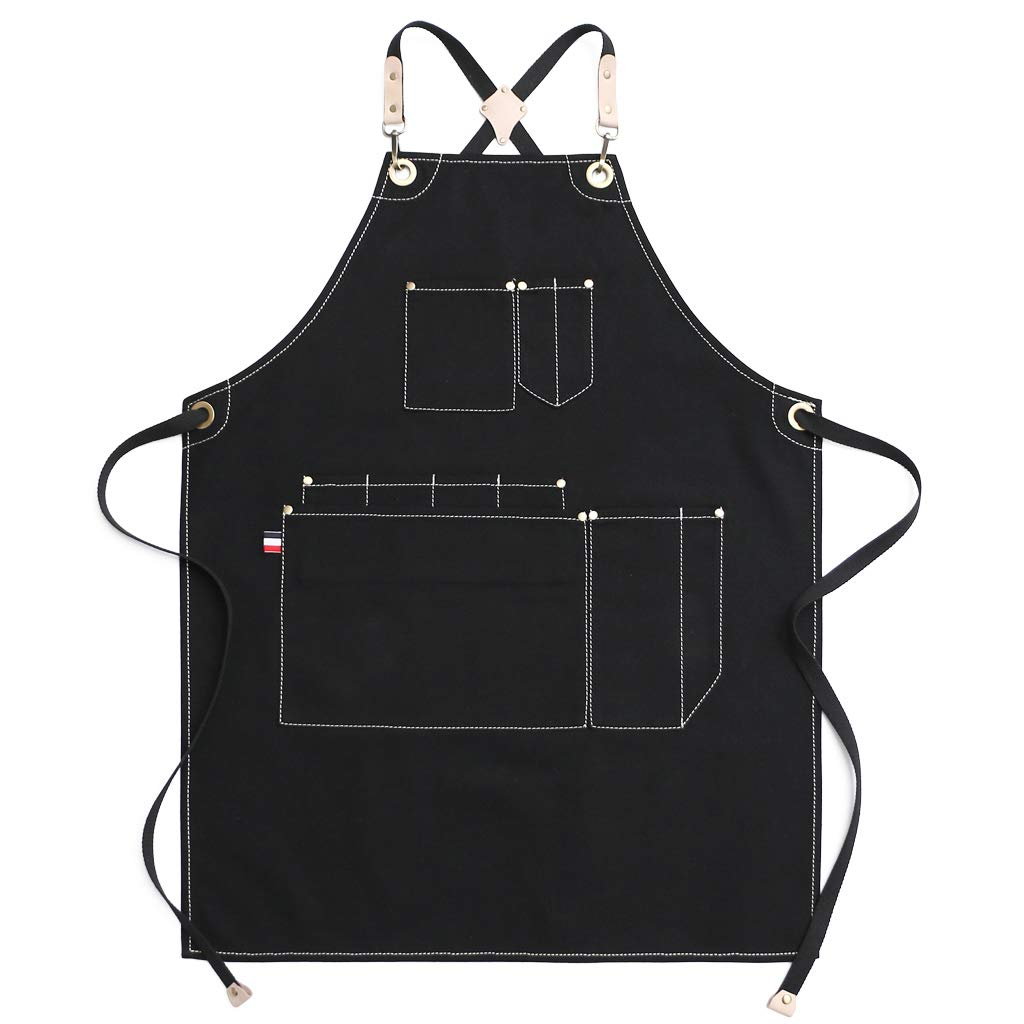 Waxed Cotton Canvas Apron with 10 Pockets Jeanerlor Hair Stylist Apron Smart Cross-Back Straps Design Fully Adjustable S to M(Coffee) Durable Tool Denim Aprons for Women No Neck Pain