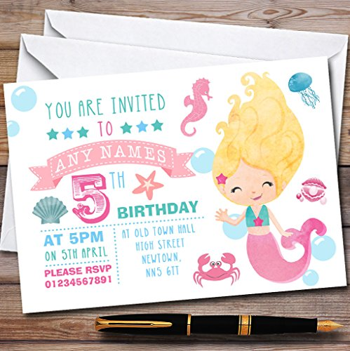Cute Little Mermaid Themed Childrens Birthday Party Invitations