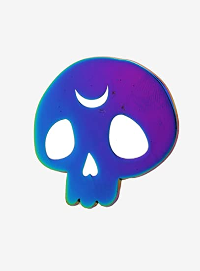 Amazon com: Anodized Crescent Moon Skull Pin: Clothing