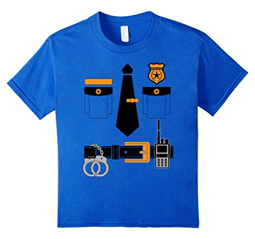 Kids Police Cop Policeman Sheriff Uniform Halloween T-Shirt 4 Royal Blue
