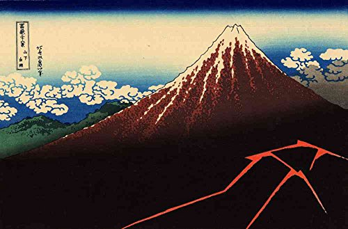 Summit Outlet - The Museum Outlet - Hokusai - Lightning below the summit - Canvas Print Online Buy (40 X 50 Inch)