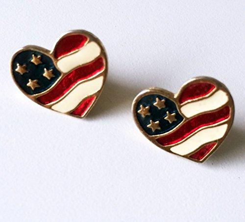 Avon Enamel Gold Tone Heart of America Us Flag Pierced Stud Earrings, Signed