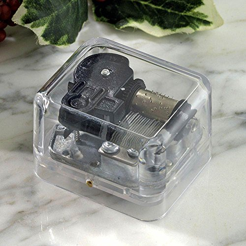 Price comparison product image Bits and Pieces - Holiday Mini Music Box Plays Silent Night - Clear Acrylic Wind-Up Box Lets You Watch Mechanical Insides Spin