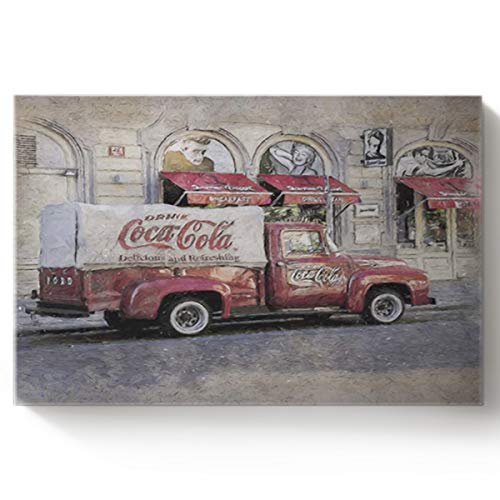 Arts Language DIY Oil Paintings Paint by Numbers Kit with Brushes for Adults/Kids Beginner Red Coca Cola car Under Old Texture Acrylic Paints on Canvas Wooden Framed Wall Art 16x20in