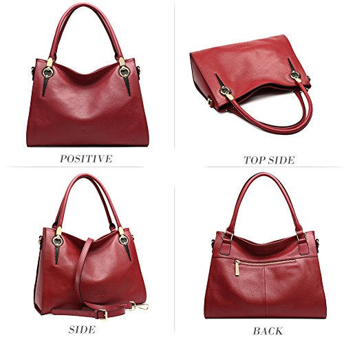 Hobo Bag Sale Red Bag Designer Wine Ladies Leather 3 Handle Top Handbag Shoulder Purse Tote Women's Clearance wARnqYxSS