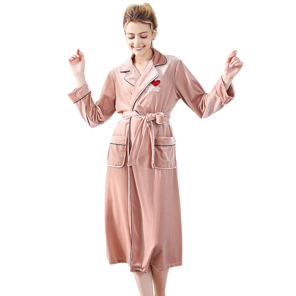 Pink Women's Fleece Solid color Robe, Long Section Wire Velvet Warm Bathrobe Soft Sleepwear VNeck Nightwear for Ladies Autumn and Winter Sleep, Bathing, Solid color