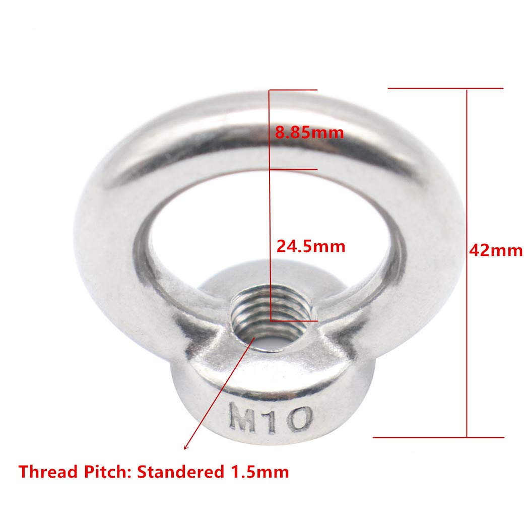 CCTVMTST 5Pcs 304 Stainless Steel M10 Lifting Ring Eye Bolt Nuts