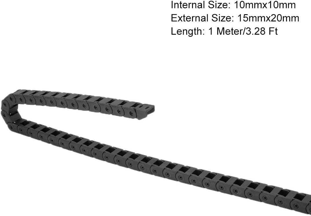 uxcell Drag Chain Cable Carrier Closed Type with End Connectors 10X15mm 1 Meter Plastic for Electrical CNC Router Machines Black