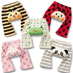 Set 5 LOCOMO Baby Unisex Bee Frog Pig Panda Lady Bug Pant FBT002