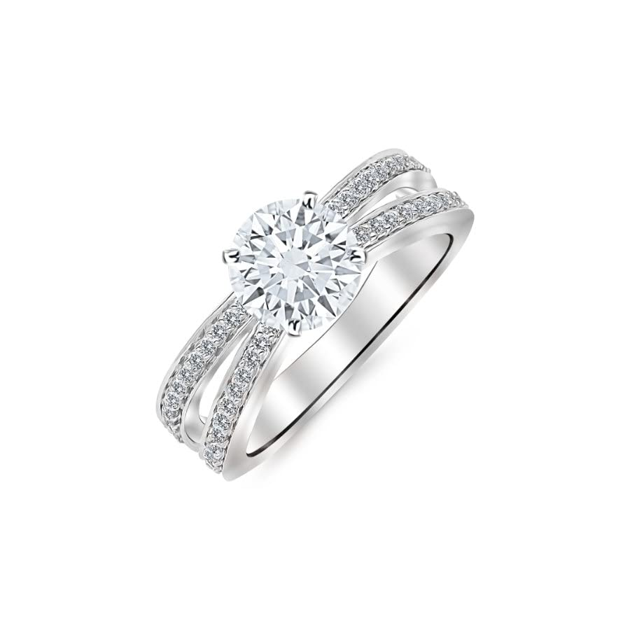 2.45 Carat Designer Split Shank Double Row Contemporary Diamond Engagement Ring 14K White Gold with a 2 Carat Round Cut Moissanite (Heirloom Quality)
