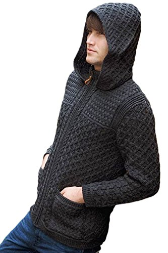 Mens Hooded Wool - West End Knitwear Wool Hooded Zip-Up Irish Sweater Coat (Large, Charcoal)