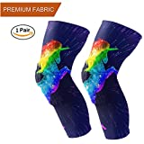 Naanle Chic Rainbow Unicorn Kids Adult Crashproof Sports Knee/Elbow/Shin Pads Compression Long Sleeve Athletic Protector Gear, Sold as Pair (2 Long Sleeves)