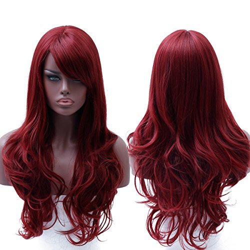 Fake Wigs (WTB Hair 28 '' Fashion Long Curly Synthetic Fake Hair Extensions Wigs for Black Women Cheap Red Wigs Cosplay Hair)