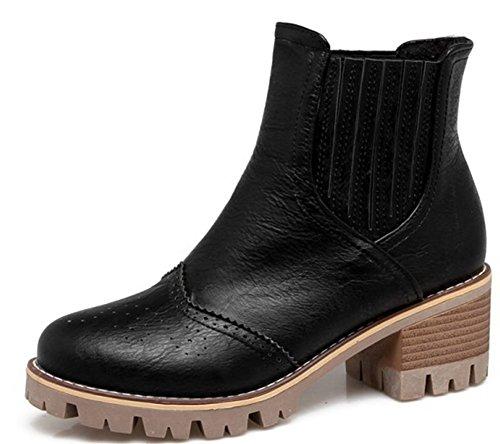 Aisun Damen Brogue Perforiert Plateau Blockabsatz Kurzschaft Sport Freizeit Martin Boots Stiefel Beige 38 EU WDV6ZXA