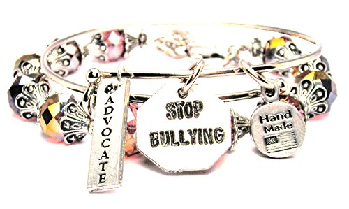 ChubbyChicoCharms Stop Bullying Pink Crystal Bracelet with Adjustable Wire Bangle Set, 2.5
