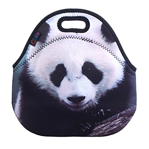 iColor Soft Boys Girls Waterproof Insulated Neoprene Lunch Container School Office Travel Outdoor Work Lunch Bag Tote Cooler Lunch Box Handbag Food Storage Carrying Bag (Panda)HST-LB-019