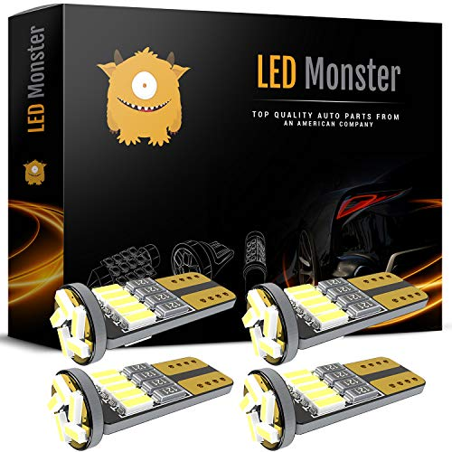 LED Monster 4pcs T10 Wedge Best Value Super Bright High Power 3014 15-SMD 194 168 2825 W5W White LED Bulb Lamp for Car Truck Interior Dome Map Door Courtesy License Plate Lights