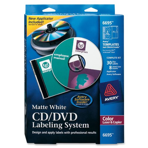(Avery 6695 CD/DVD Design Kit, 30 Labels & 8 Inserts for Color Laser Printers)