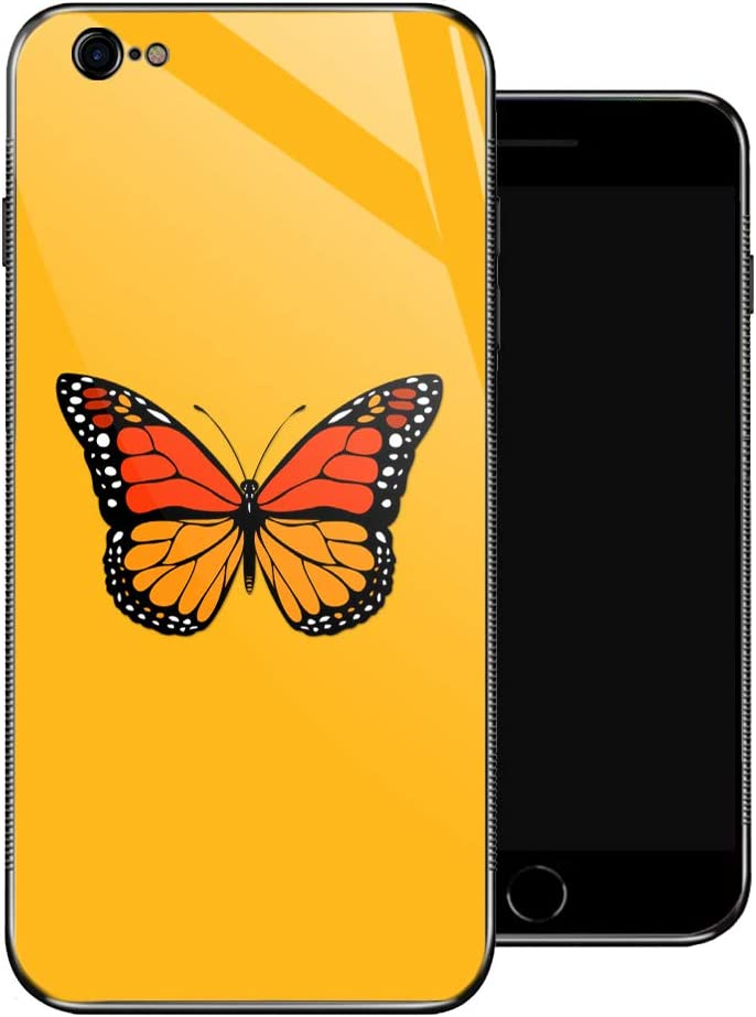 iPhone 6 Plus Case,Monarch Butterfly iPhone 6s Plus Cases for Girls,Non-Slip Pattern Design Back Cover[Shock Absorption] Soft TPU Bumper Frame Support Case for iPhone 6/6s Plus Yellow Retro Style Red