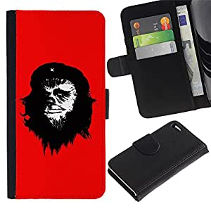 KingStore / Leather Etui en cuir / Apple Iphone 4 / 4S / Che Guevara Caricatura Arte de la pintura del hombre del mono