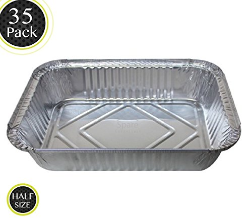 35 Pack - Durable Chafing Pans, Half Size Roasting Pans - Disposable Aluminum Foil Steam Table Deep Pans, Buffet Pans Size - 10