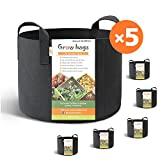#4: HONEST OUTFITTERS 5-Pack 7 Gallon smart Grow Bags for Potato/Plant Container/Aeration Fabric Pots With Handles (Black)