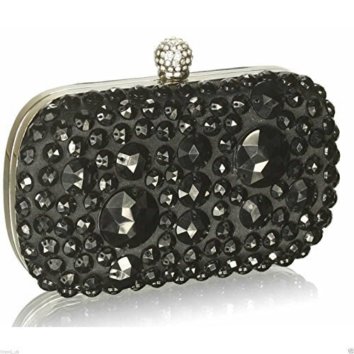 Beaded Clutch Bag Sparkly Stone Hard Case Box Handbag Party Evening Wedding Purse