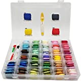 Upgraded Embroidery Floss with Organizer Storage Box - 96 Colors 100% Cotton Embroidery Thread Bobbins with Number Stickers and 38 Pcs Cross Stitch Kits, Perfect for DIY Friendship Bracelet String, Ha