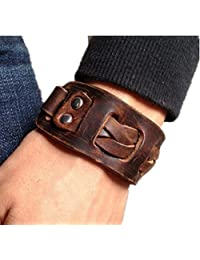 Jirong Antique Men's Brown Leather Cuff Bracelet, Leather Wrist Band Wristband Handcrafted Jewelry Sl2258