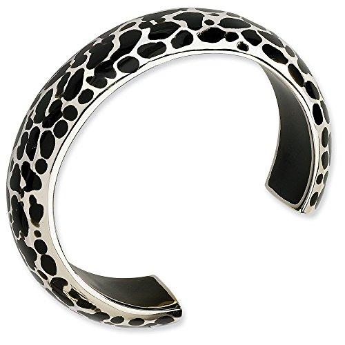 Argent 925/1000-Résine noire-JewelryWeb Bracelet manchette
