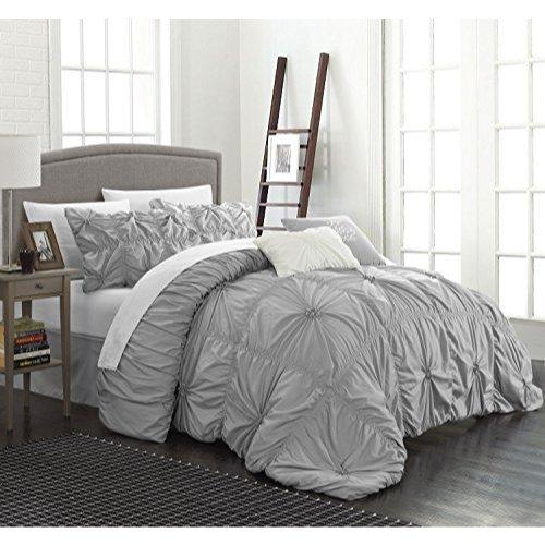 Chic Home CS1442-AN Halpert Floral Pinch Pleat Ruffled Designer Embellished Queen Comforter Set, 6-Piece, Silver (Ash Queen Size Bed)