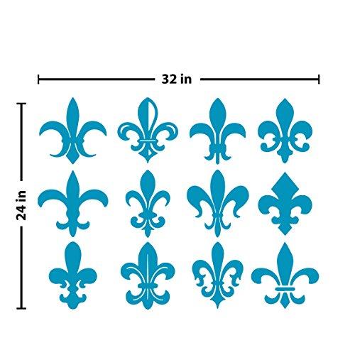 Fleur du Lis Pattern Wall Decal (Teal, 24