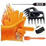 YOUR SMILE BBQ Oven Gloves, Meat Thermometer, Meat Shredder Claw and Silicone Basting | BBQ | Pastry | Oil Brush(4 in 1) BBQ Grilling Tool Accessory for Indoor Outdoor Cooking 7 SUPERIOR VALUE SET - This parcel includes: 2 silicone gloves, 2 meat shredders claws, 1 meat thermometer and 1 silicone basting brush for free gifts. This supper value grill collection is a perfect complement to any grilling and kitchenware. HEAT RESISTANT SILICONE GLOVES - The most versatile silicone glove for barbecue, grilling, cooking and baking, they could be used outdoor by the grill for roasting beef, frying a turkey, even the fire place and great for kitchen for baking and cooking indoor. ACCURATE MEAT THERMOMETER - The meat thermometer Made of high quality 304 stainless steel and stored in the plastic tube, with LCD display shows accurate temperature results in about 10 seconds. The Temperature measurement range of -50ºC (-58°F) to 300°C (572º F).