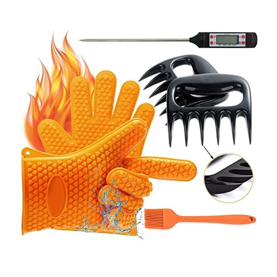 YOUR SMILE BBQ Oven Gloves, Meat Thermometer, Meat Shredder Claw and Silicone Basting | BBQ | Pastry | Oil Brush(4 in 1) BBQ Grilling Tool Accessory for Indoor Outdoor Cooking 1 SUPERIOR VALUE SET - This parcel includes: 2 silicone gloves, 2 meat shredders claws, 1 meat thermometer and 1 silicone basting brush for free gifts. This supper value grill collection is a perfect complement to any grilling and kitchenware. HEAT RESISTANT SILICONE GLOVES - The most versatile silicone glove for barbecue, grilling, cooking and baking, they could be used outdoor by the grill for roasting beef, frying a turkey, even the fire place and great for kitchen for baking and cooking indoor. ACCURATE MEAT THERMOMETER - The meat thermometer Made of high quality 304 stainless steel and stored in the plastic tube, with LCD display shows accurate temperature results in about 10 seconds. The Temperature measurement range of -50ºC (-58°F) to 300°C (572º F).