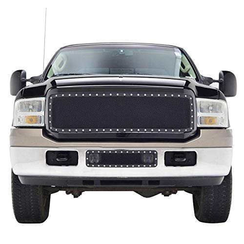AA Products Front Grille Compatible Ford Super Duty F250/F350/F450/F550 2005 up to 2007 Black Rivet Steel Wire Mesh Replacement Grille with Shell Gloss - Grille Shell
