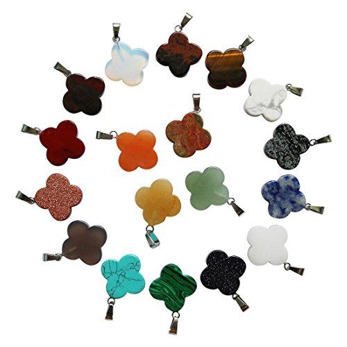 fubaoying Four-Leaf Clover Bead Pendant for Jewelery Making Alloy Pendant Bracelets Earring DIY (Ruby Clover Pendant)