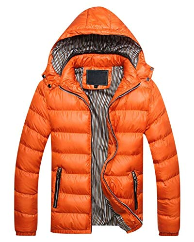Adelina Men's Winter Jacket Quilted Down Warm Jacket Jacket with Hooded Slim Fit Outerwear Outdoor Jacket Coat Orange