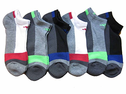 Mens Adidas No Show Athletic Socks 6 Pack Multi Colored by adidas
