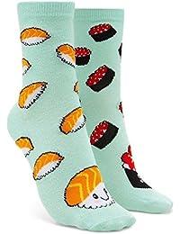 Womens Smiling Sushi Novelty Crew Socks, Mint