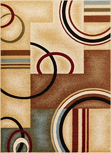 Well Woven Barclay Arcs & Shapes Ivory Modern Geometric Area Rug 7'10