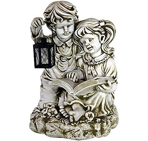 DEGARDEN AnaParra Figura Decorativa niños Leyendo de hormigón-Piedra para jardín o Exterior 50cm.: Amazon.es: Jardín