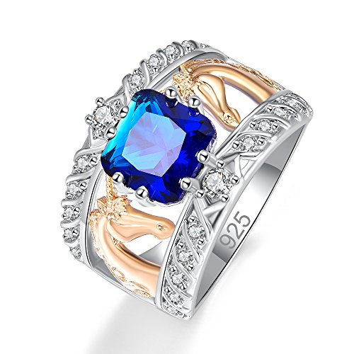 Psiroy 925 Sterling Silver Created Blue Sapphire Quartz Filled Cushion Cut Two Tone Unicorn Wide Band Ring for Women - Wide Split Shank Ring