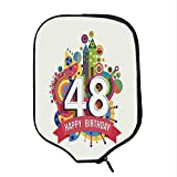 YOLIYANA 48th Birthday Decorations Durable Racket Cover,Vintage Pop Art Style Funky Urban Party Age Day Artisan Graphic for Sandbeach,One Size