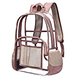 Heavy Duty Clear Backpack for Women Fit 15.6 inch Laptop Eco Friendly Durable Bookbag for Teenager Girls Boys See Through School Bag Transparent PVC Travel Work Daypack, Rose Gold