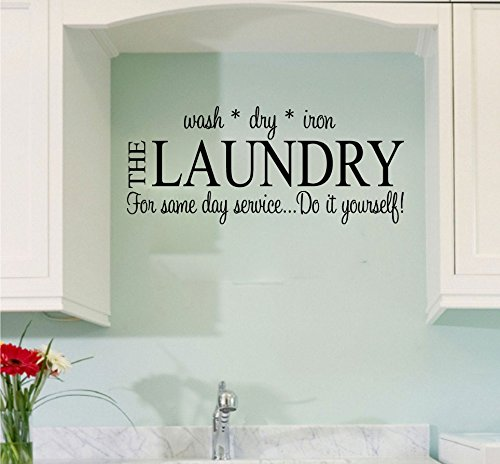 Laundry Wash Dry Iron Vinyl Wall Words Decal Sticker (10 Years Dry Wine)