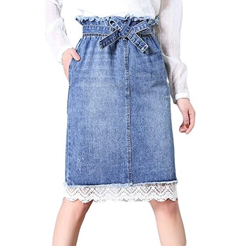 4fe925dae574 Chouyatou Women s Lovely Elastic High-Waist Lace Bottom Ripped Denim Skirts  with Belt durable modeling