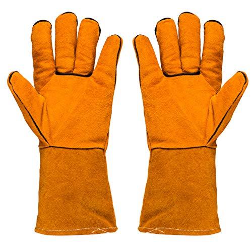 "Welding Gloves,14"" Lined Leather Welders Gauntlet, Heat Resistant,Mitts for Blacksmithing Oven,Grill,Fireplace,Furnace,Stove,Pot Holder,Tig Welder,Mig,ARC,BBQ,Camping,Animal Handling Safety Glove"