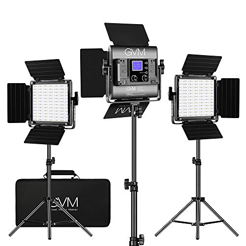 GVM RGB LED Video Lighting Kit, 800D Studio Video Lights with APP Control, Video Lighting Kit for YouTube Photography…