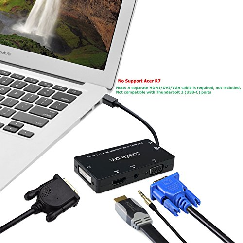 CableDeconn 4-in-1 Mini Displayport (Compatible Thunderbolt) to Hdmi/dvi/vga Adapter Cable with Audio Output Converter for Apple Macbook Air Microsoft Surface Pro Supports 3 Monitors At the Same Time by CableDeconn (Image #6)