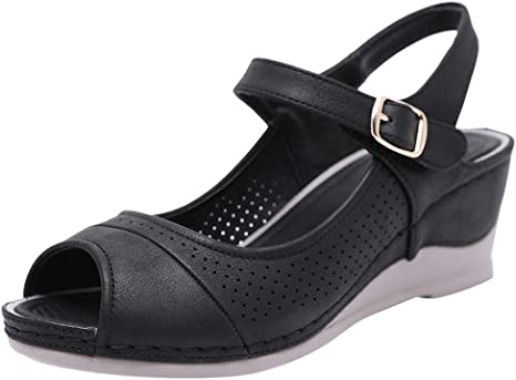 Compensées sandales fantaisie robe d/'été talons confort marche plage chaussures taille
